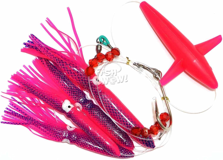 purple Fishing Daisy Bird Chain Squid Lure Rig Teaser Trolling Bait Big Game 8//0