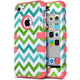 iPhone 5c Case - ULAK Hybrid High Impact Soft TPU and Hard PC Protective Case Cover for Apple iPhone 5C (Green/Water Red Wave)