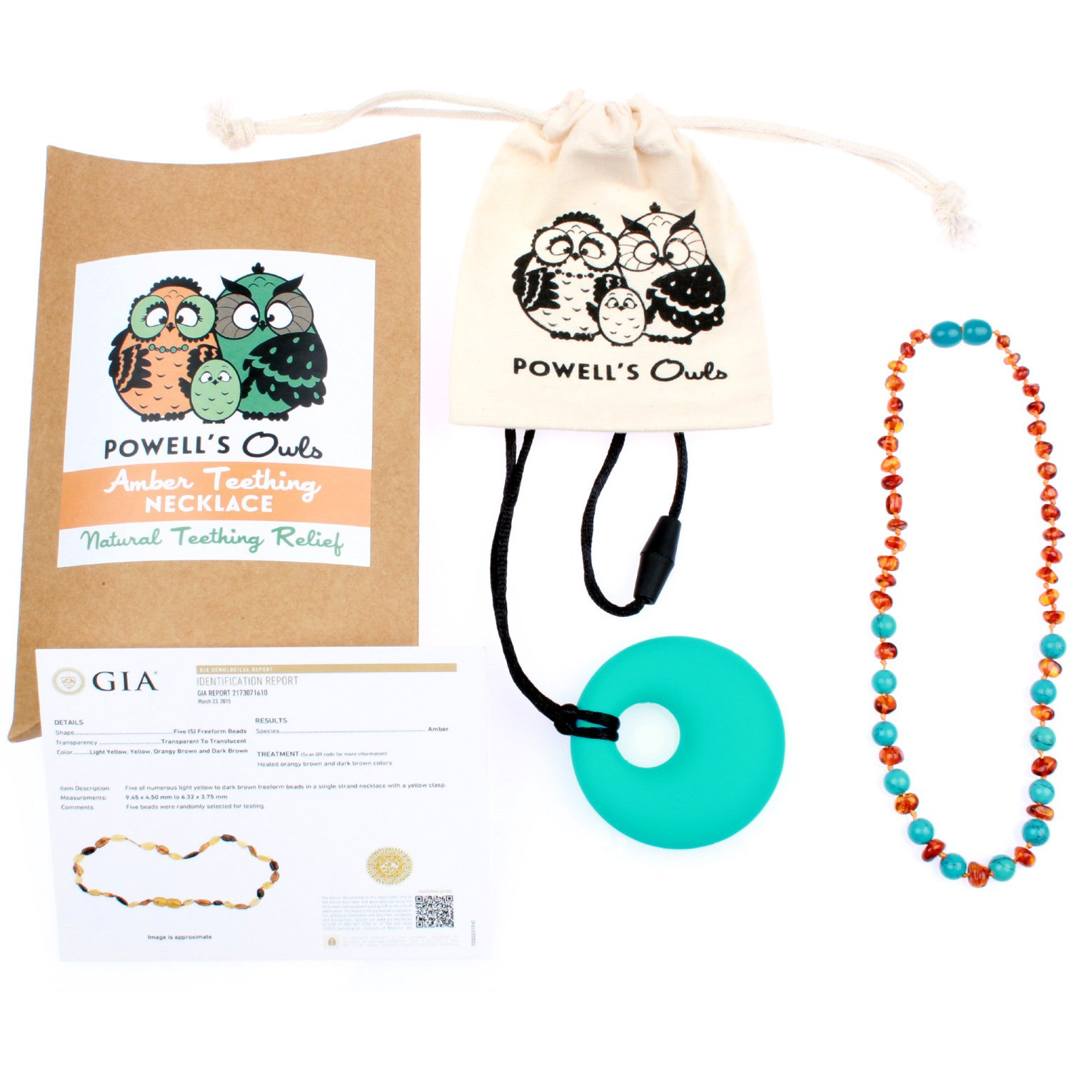 Baltic Amber Teething Necklace Gift Set + FREE Silicone Teething Pendant ($15 Value) Handcrafted, 100% USA Lab-Tested Authentic Amber - Teething Pain Relief (Turquoise/Cognac Mix - 12.5 Inches)