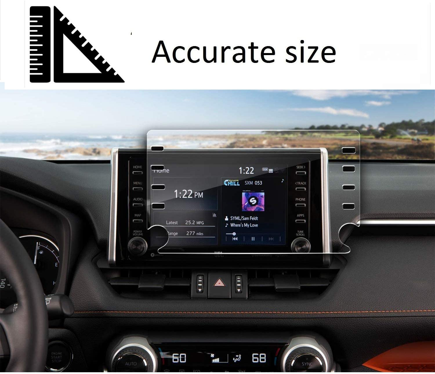 SATIS Premium Screen Protector Compatible with 2019 2020 Toyota RAV4 8 Inch Screen Anti Glare Scratch Fingerprint Navigation Protection Tempered Glass