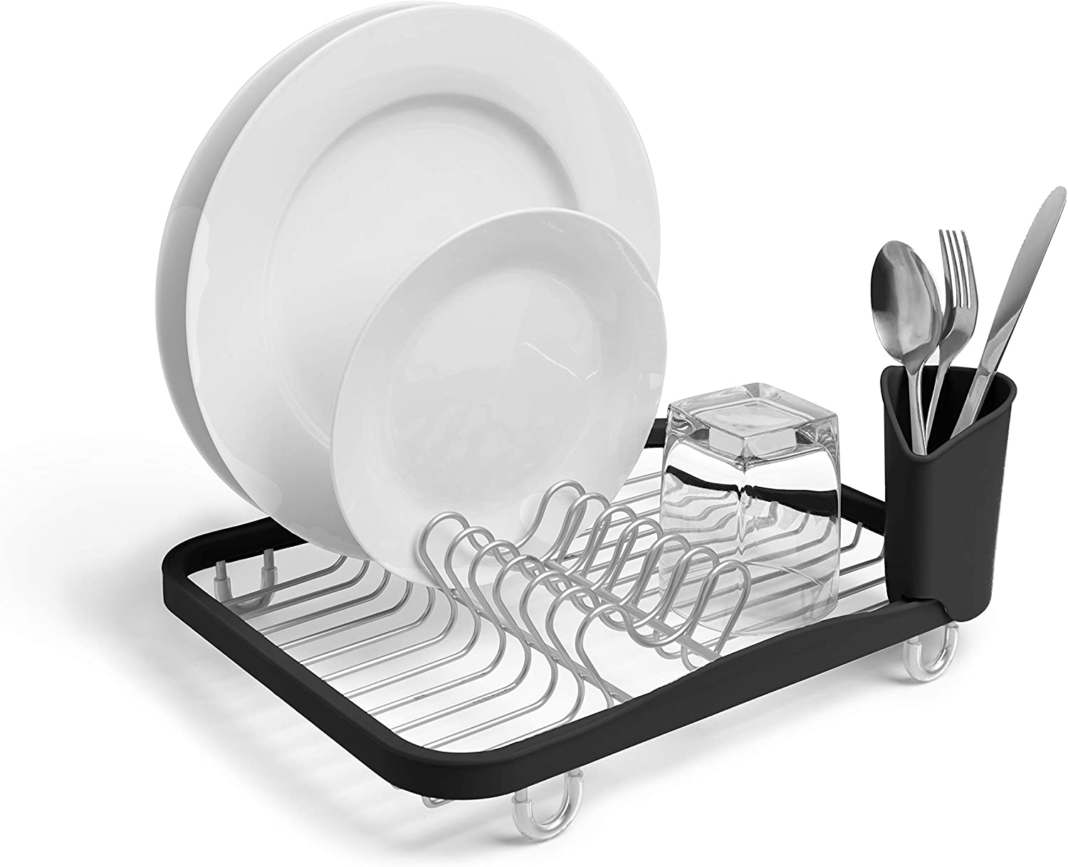 Umbra 330065-744 Sinkin Drying Rack – Dish Drainer Caddy with Removable Cutlery Holder Fits in Sink or on Counter top, Medium
