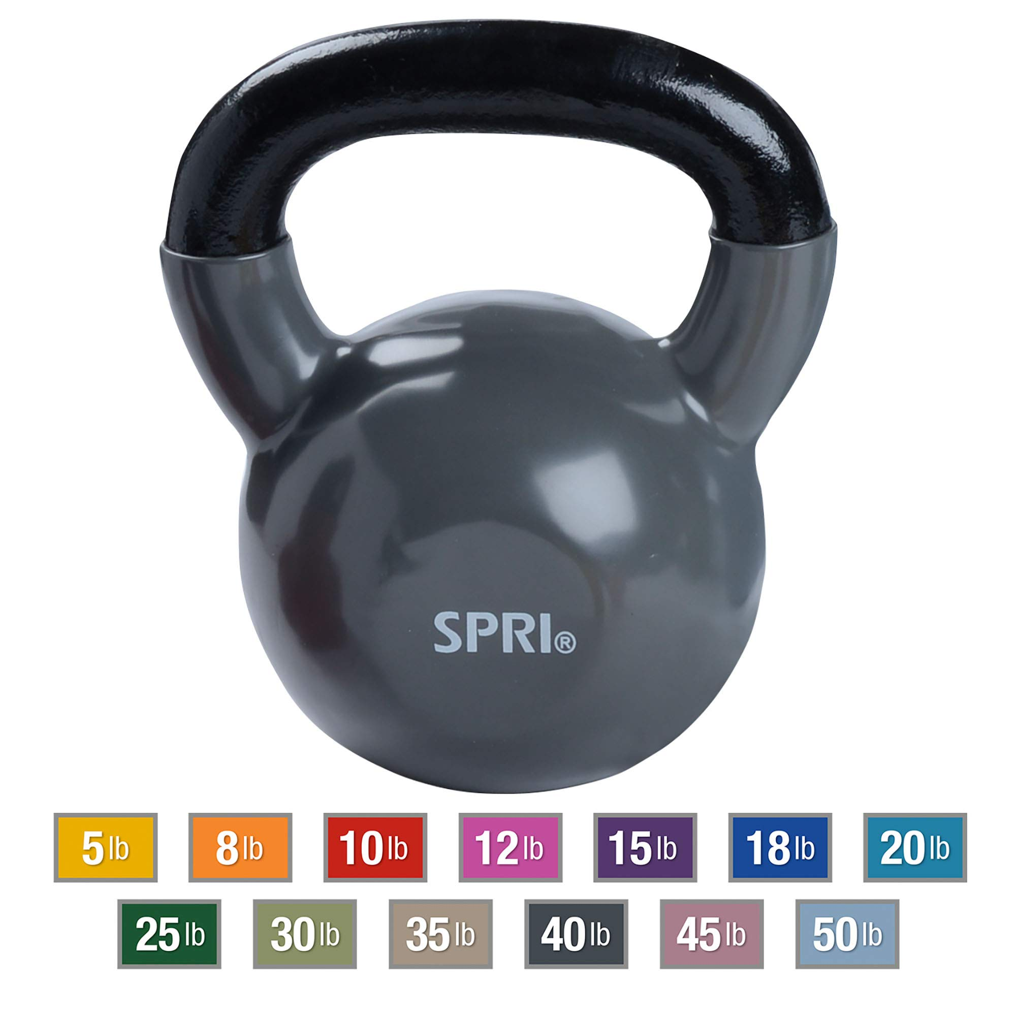 SPRI Kettlebell Weights Deluxe Cast Iron Vinyl Coated Comfort Grip Wide Handle Color Coded Kettlebell Weight Set (Grey, 40-Pound)