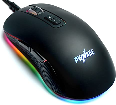 Pwnage Altier Pro Gaming Mouse - 3360 Optical - Wired RGB 16.8 Million Spectrum Lighting - 7 Programmable Buttons - 12,000 DPI Optical Sensor - PixArt ...