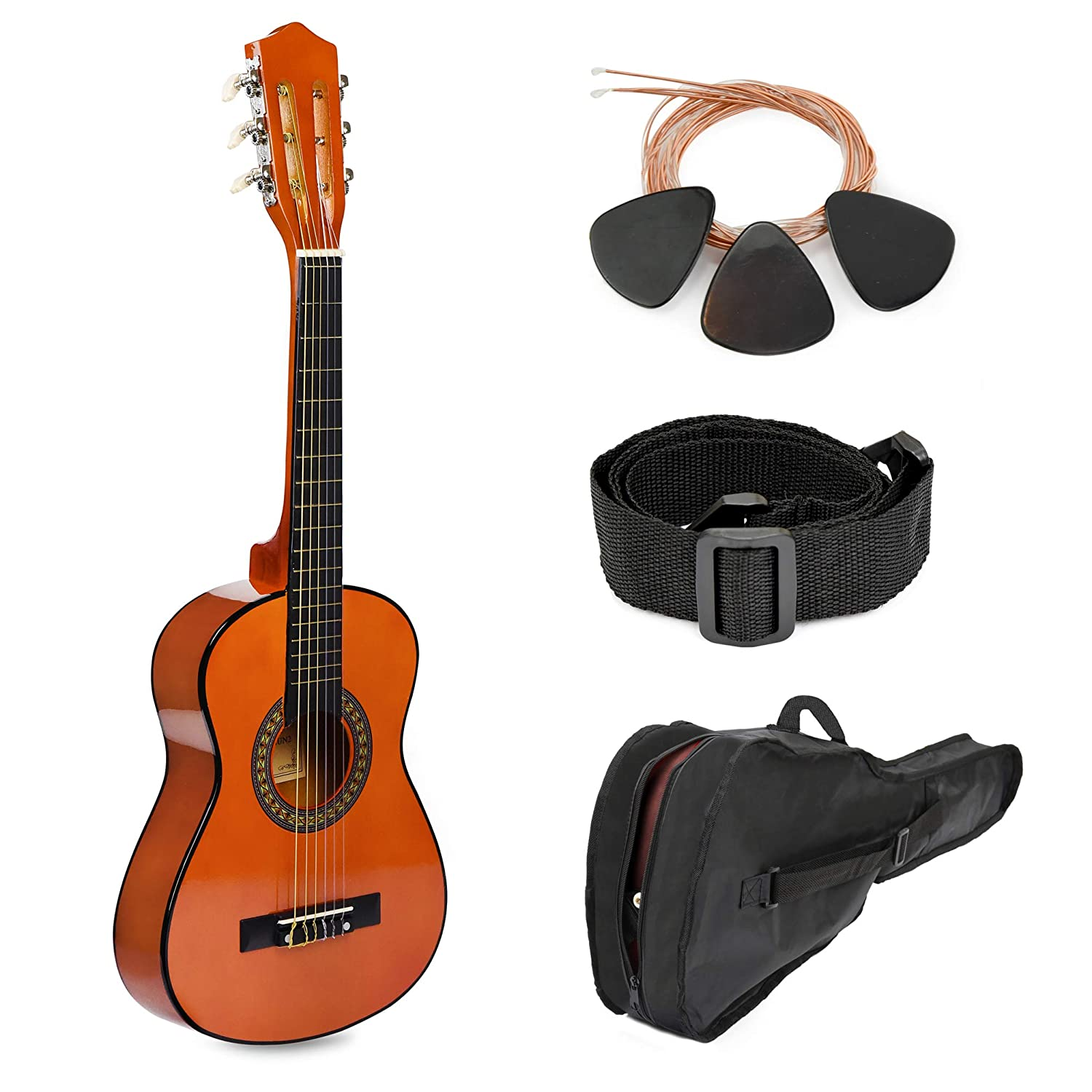 "30"" Sunset Wood Guitar with Case and Accessories for Kids/Girls/Boys/Beginners 71h4FjvOaxL"