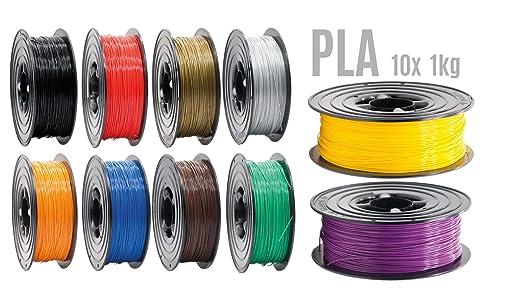 Filamento PLA para impresora 3D, 1,75 mm, 10 rollos de 1 kg, 10 ...