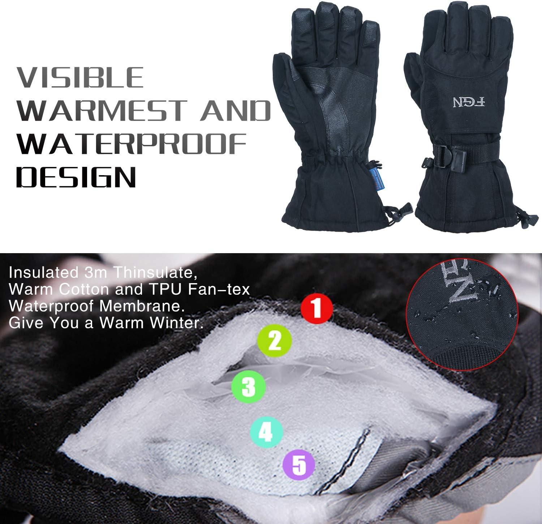 Mens Winter Thinsulate 3M Snow Grip Ski Hook/&Loop Wrist Cover Gloves Black