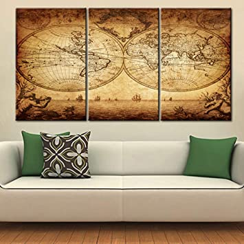 Amazon.com: Modern House Decorations Old World Map Vintage ...