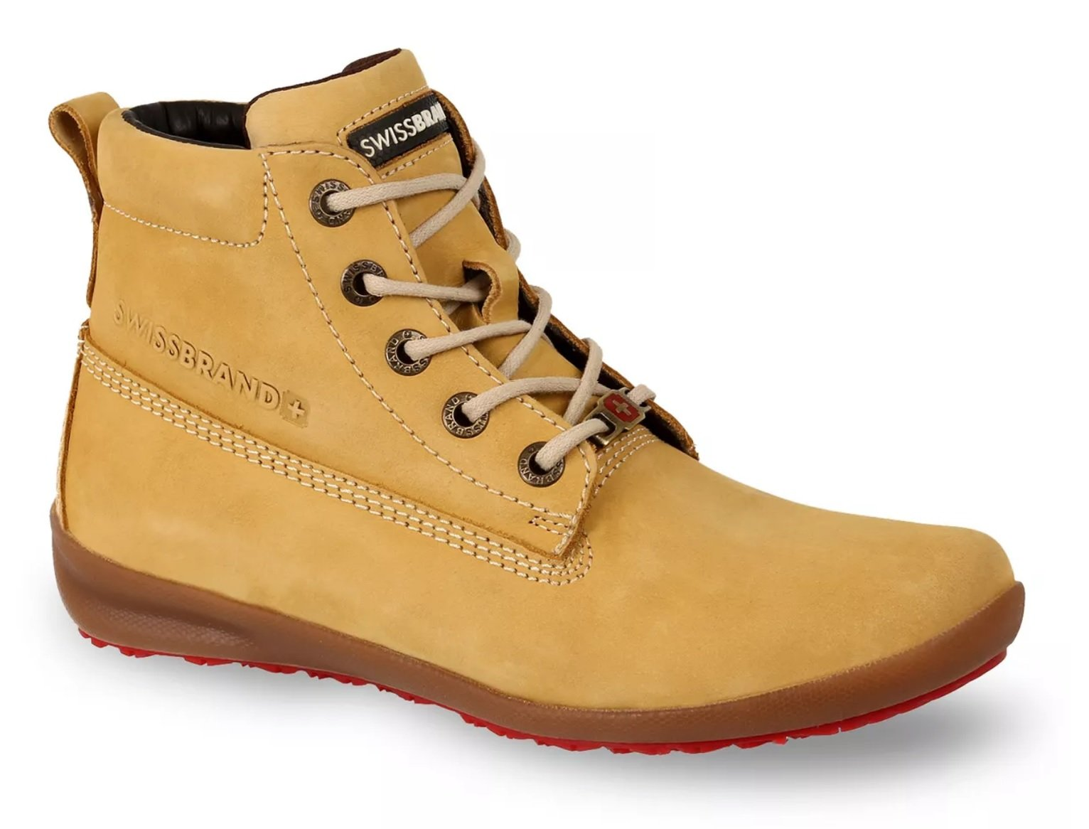 Swissbrand Women's Casual Boot Yellow Leather Lace-up Cushion Comfort Shoe (7)