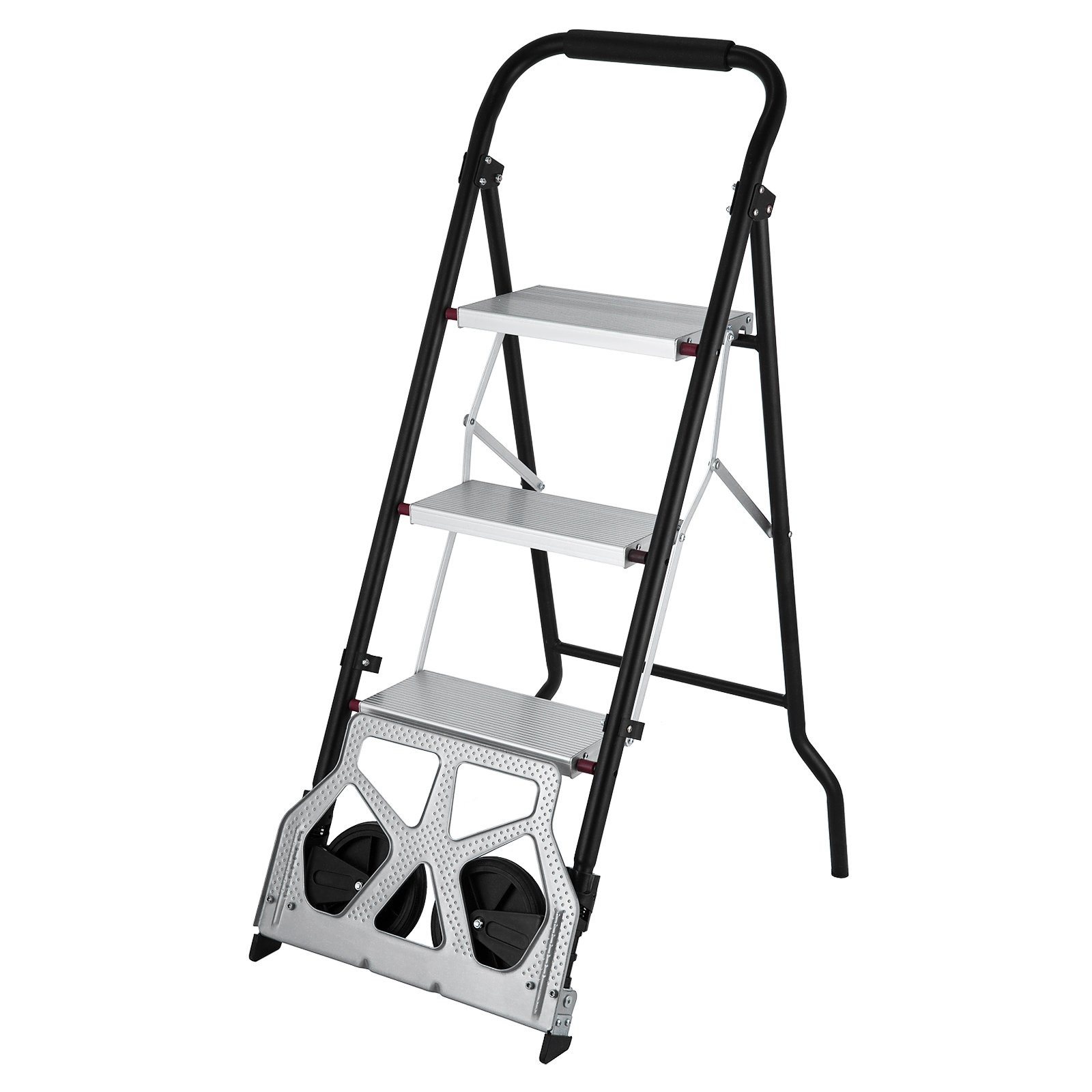 OrangeA 3-Steps Ladder Cart 2-in-1 Convertible Step Ladder Folding Hand Truck with Trolley by OrangeA (Image #1)