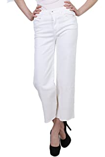 Toxik3 Jean crop flare blanc femme pantalon trompette court évasé taille du  S au XL c288729a5560