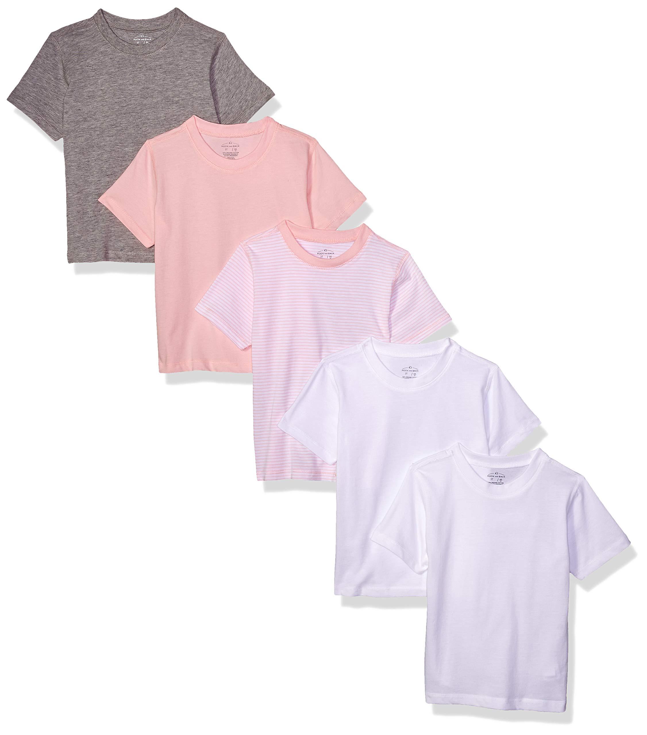 Moon and Back Toddler Set of 5 Organic Crew-Neck Short-Sleeve Tee Shirts, Pink Blush, 2T