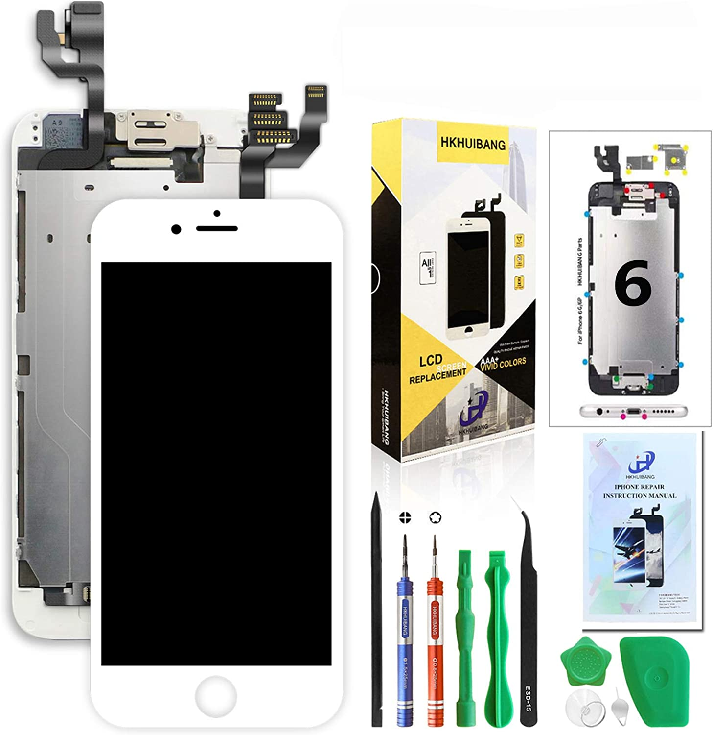 Pre-Assembled LCD Touch Digitizer Display Full Assembly with OEM Front Camera Proximity Sensor Earpiece Speaker Repair Tool,Only for iPhone 6 Plus Screen Replacement for i6 Plus Black 5.5