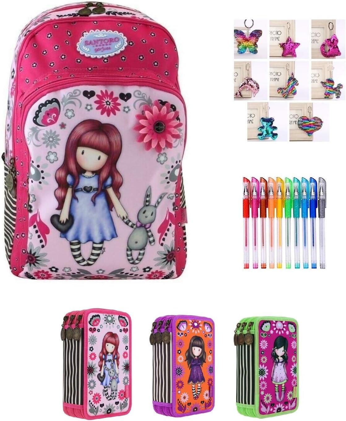 Mochila Escolar Santoro Gorjuss London My Gift To You + Estuche de 3 Pisos Completo + Llavero con Brillantina + Paquete de 10 bolígrafos con Purpurina: Amazon.es: Equipaje