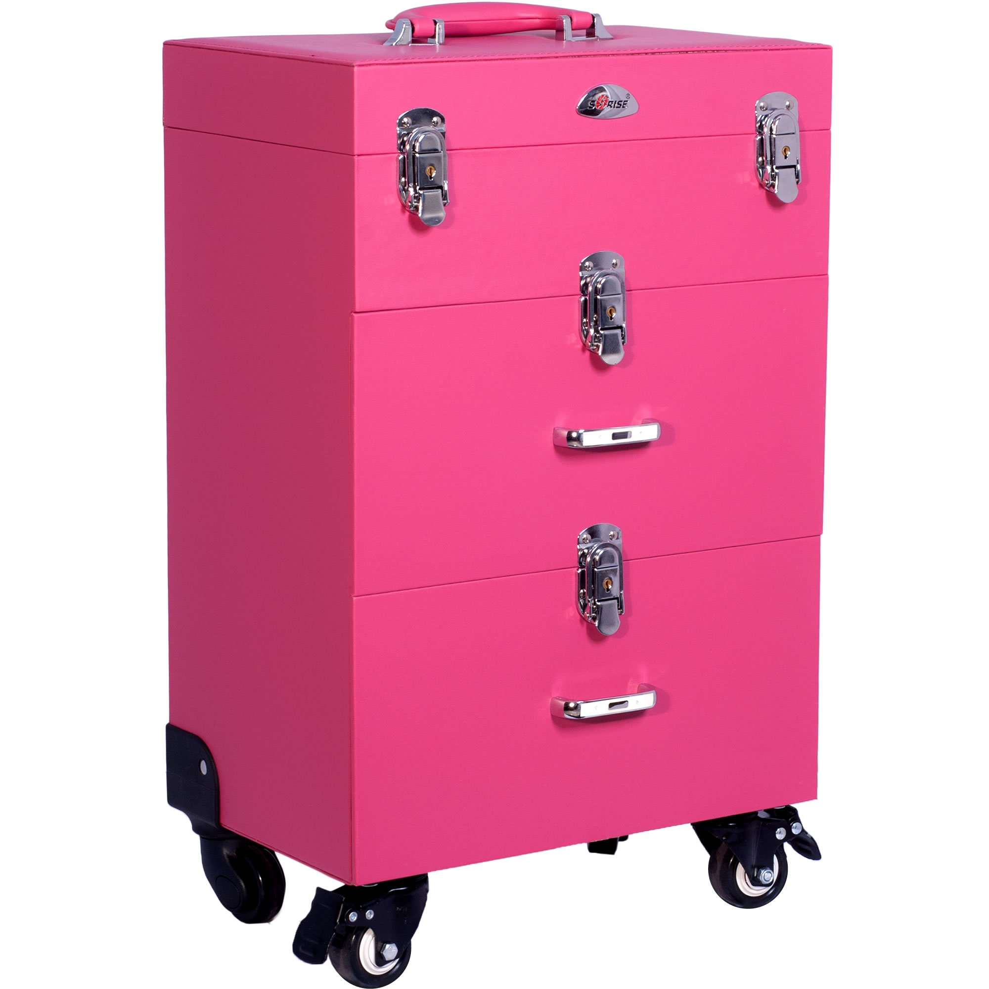 Sunrise Faux Leather Professional Nail Artistry 4 Wheel Rolling Makeup Case, Pink