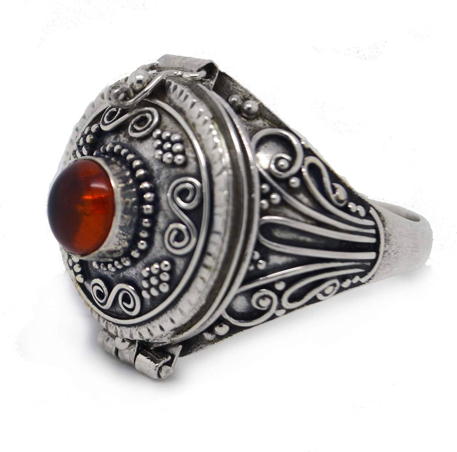 Large Genuine Amber Poison Box Sterling Silver Ring(Sizes 6,7,8,9,10)
