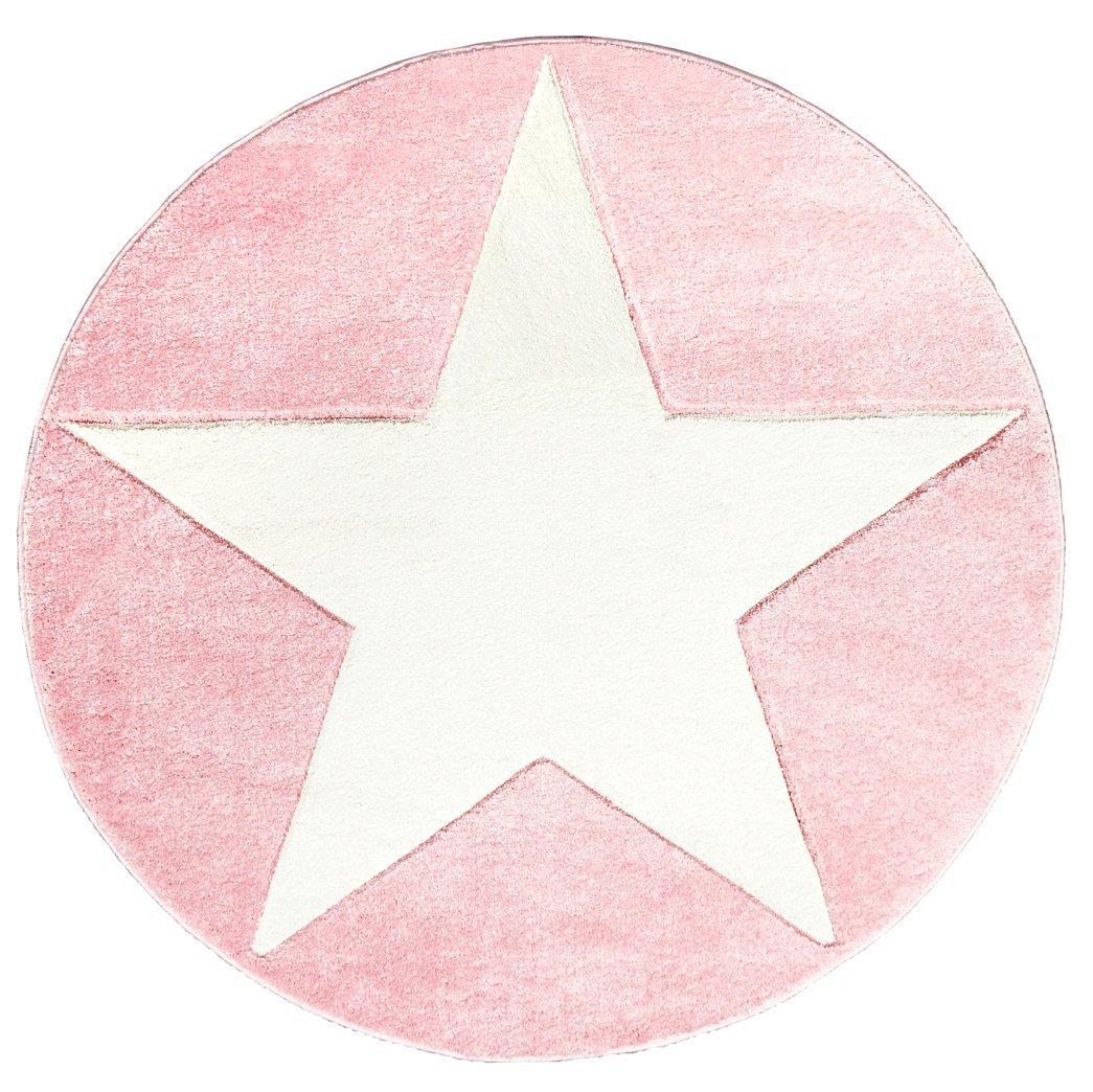 Livone Kinderteppich Happy Rugs Star rosa weiß 133cm rund