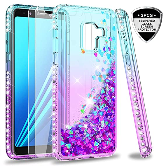 super popular e1459 b35e4 Samsung Galaxy A6 case with Tempered Glass Protector [2 Pack] for Girls  Women, LeYi Glitter Luxury Bling Diamond Quicksand Liquid Clear TPU  Protective ...