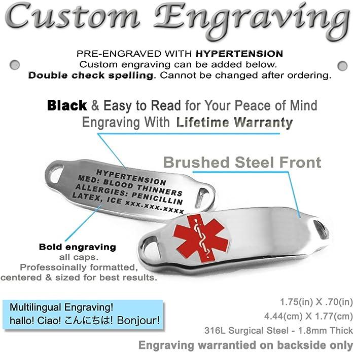 My Identity Doctor Pre-Engraved /& Customized Tree Nut Allergy ID Bracelet Steel Raindrop Black Symbol