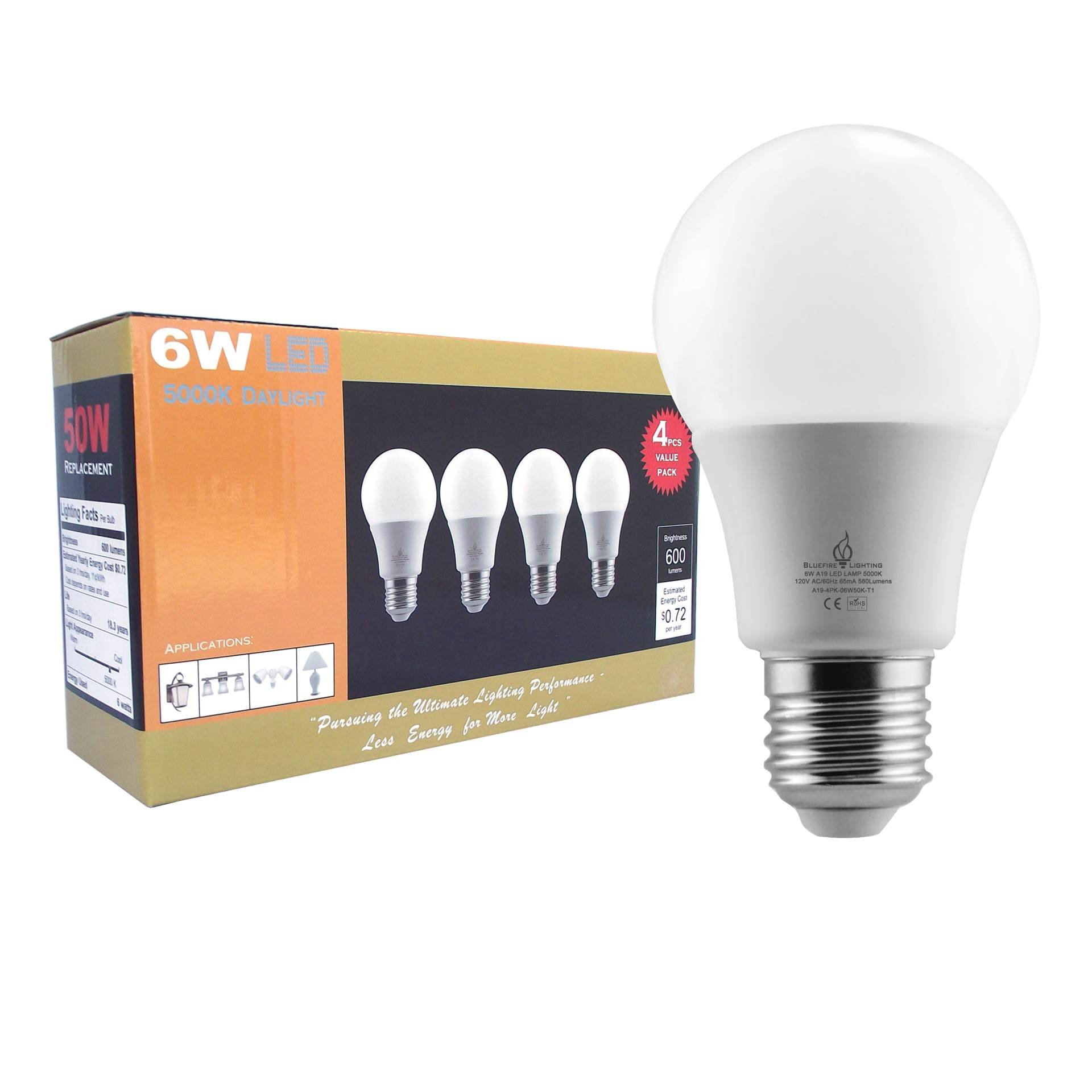 BLUEFIRE 6 Watts A19 LED Light Bulbs, Natural Daylight 5000K, 600 Lumens, 40W Replacement, Flickering-Free Light - 4PCS Value Pack, Great Light Output with Low Energy Use