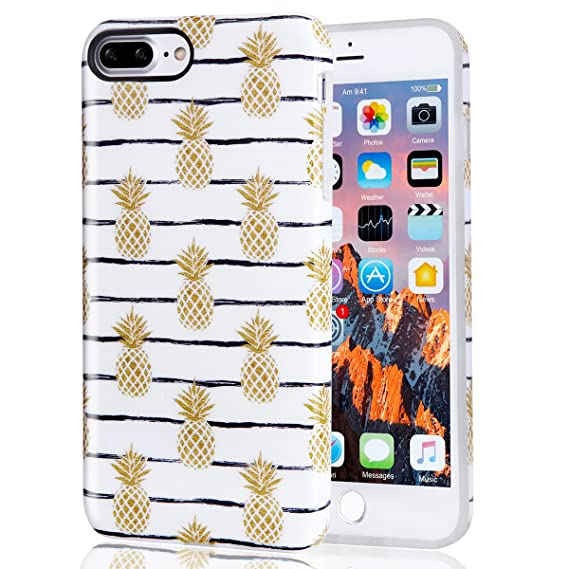 detailed look ee08e 3de79 iPhone 7 Plus Case Gold Pineapple, iPhone 8 Plus Case, Best Protective Cute  Women Girls Clear White Slim Shockproof Glossy Silicone Rubber Soft TPU ...