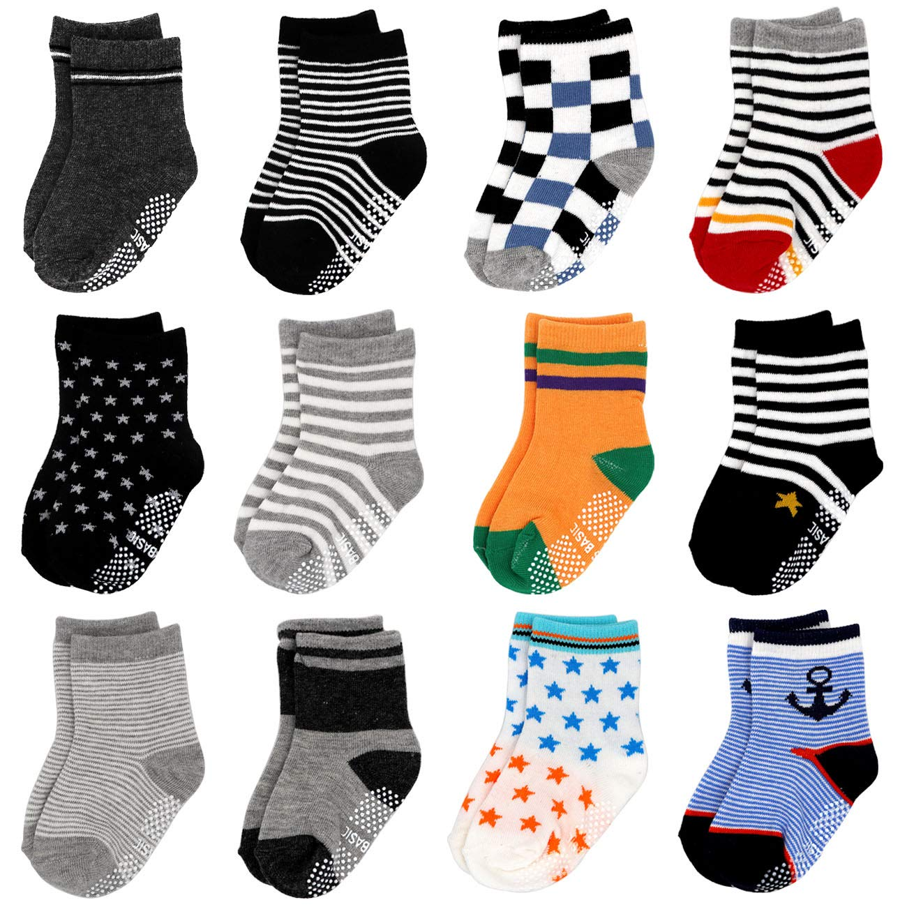 12 Pairs Assorted Baby Toddler Socks with Grips Non Skid Anti Slip Cotton Ankle Socks for Walker Kids 12-24 Months
