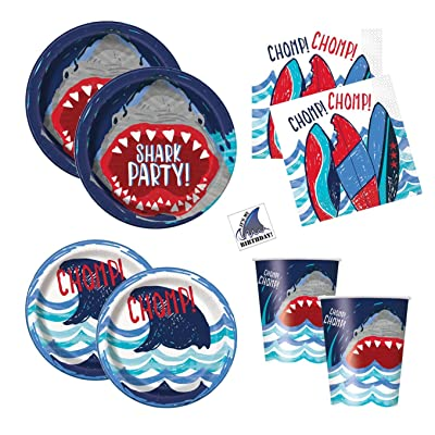 Shark Theme Party Supplies - Plates, Cups, Napkins - Boys Pool or Birthday Party Supplies (Standard - Serves 16): Toys & Games