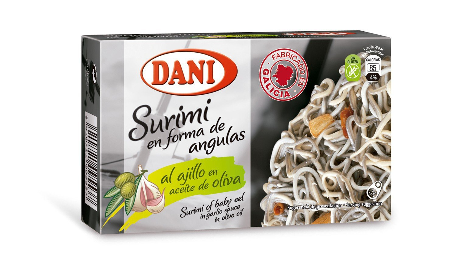 Surimi of Baby Eels 13 Pack in Garlic and Olive Sauce Gluten Free (Angulas, Eelbroods Surimi) by Dani