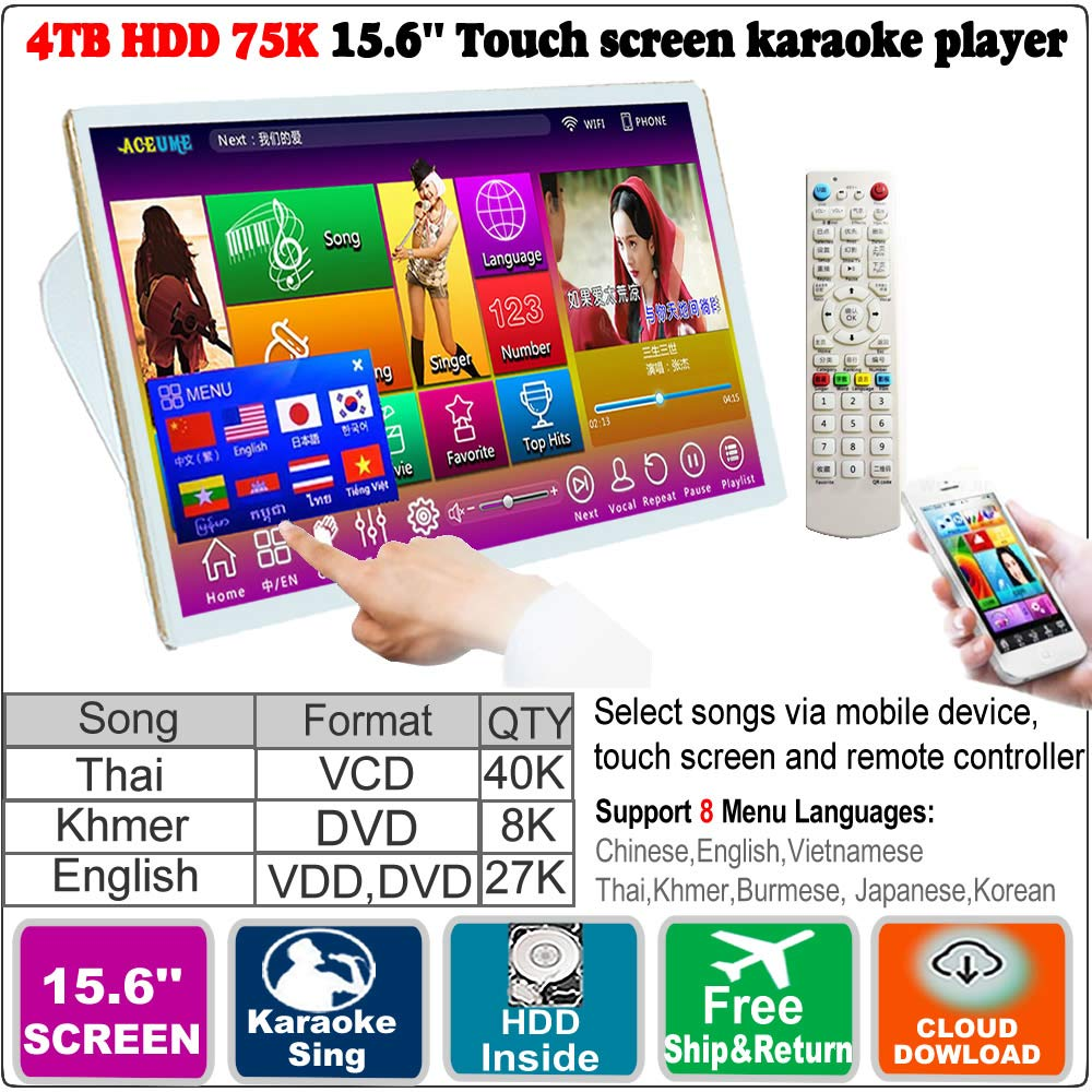 4TB HDD,75K Khmer/Cambodian VCD,DVD +Thai VCD +English DVD Songs,15.6'' Touch Screen Karaoke Player.Select Songs Via Monitor and Mobile deviece, Multilingual Menu And Fast Search