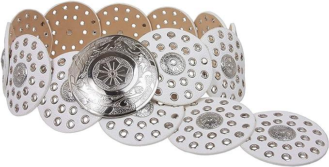 MONIQUE Women Perforated Retangular Metal Cross Silver 1.5 Wide Belt Buckle