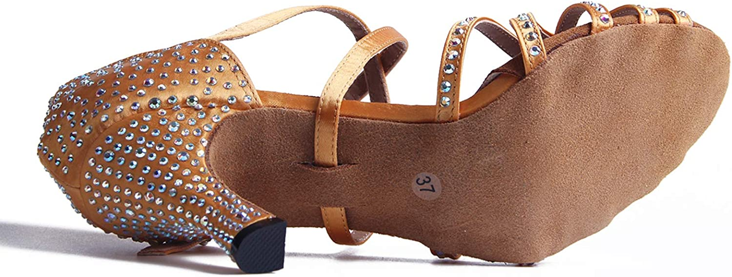 Syrads Womens Ballroom Latin Dance Shoes Salsa Tango Bachata Indoor Dancing Shoes with Rhinestones for Wedding Party Prom Dance Shoes 1056