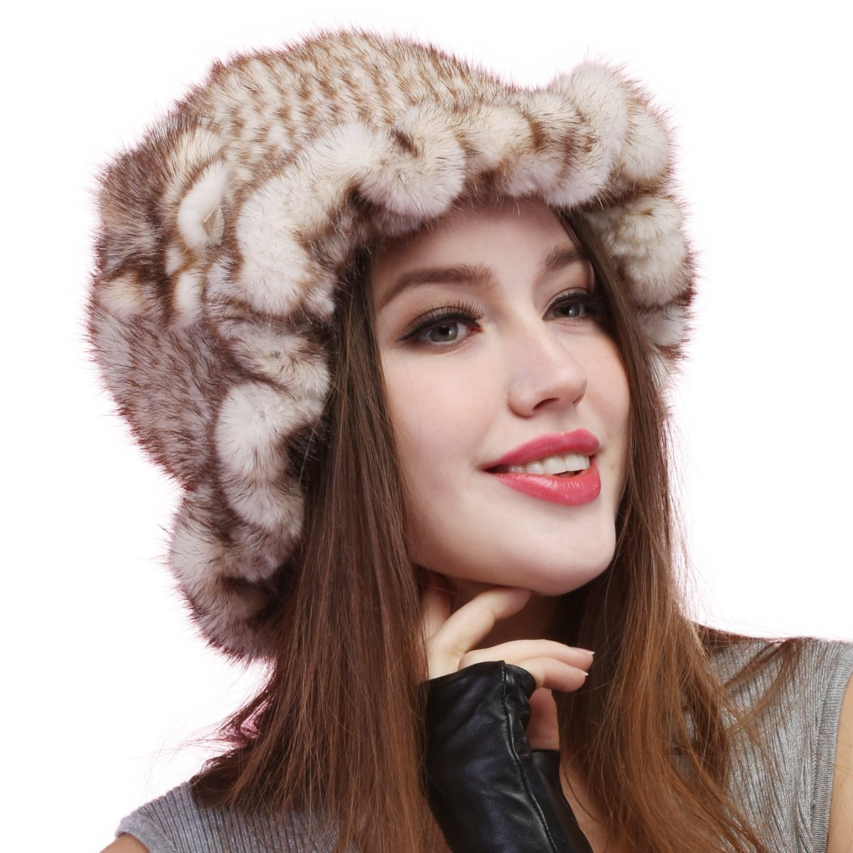 Mandy's Women's Winter Genuine Mink Flower Fur Caps New Snow Show Hats Multicolor (one size fit most, Tan)
