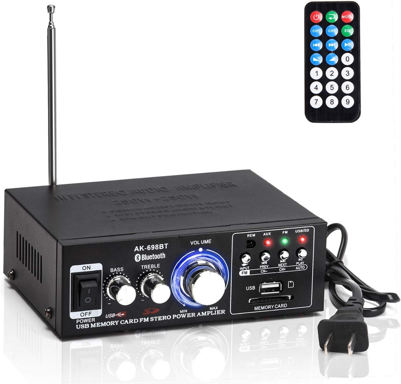 Facmogu AK-698BT Bluetooth Audio Power Amplifier 250W+250W, BT 5.0 Wireless Hi-Fi Car Stereo Amp w/ USB SD Card FM Radio for Home Theater Speakers Karaoke , 110V US Plug Built-in Power Adapter