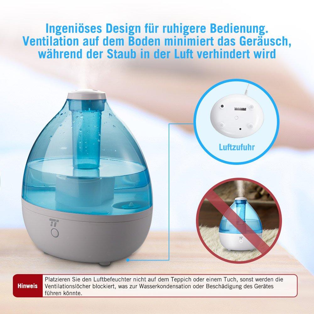 Humidificador Dormitorio Baby TaoTronics - 2,3 L humidificador ultrasónico con niebla fría para habitaciones hasta 30 ㎡ & Niebla Intensivo, ligero, ...