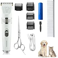 Gluckluz Pet Grooming Hair Trimmer Clipper Kit Dog Shaver Tools Electric Groomer Rechargeable Hair Cutter for Thick…