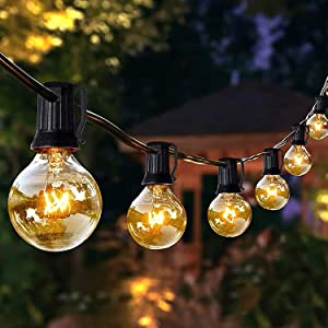 String Lights G40 25FT with 26 Clear Bulbs for Indoor/Outdoor UL Certification Perfect for Backyard Porch Garden Pergola Market Cafe BBQ Tents Decks, Wedding Christmas Camping RV Globe Bulbs Decor