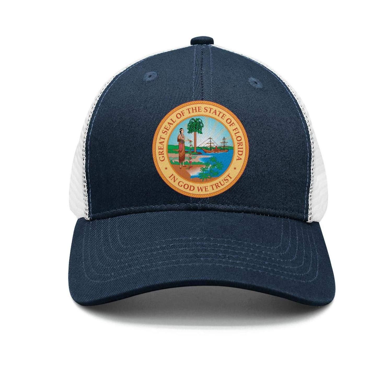 AkrCreative Modern Florida State Flag Seal Men//Women Street Dancing Navy-Blue Sports Caps Hip Hop Hats