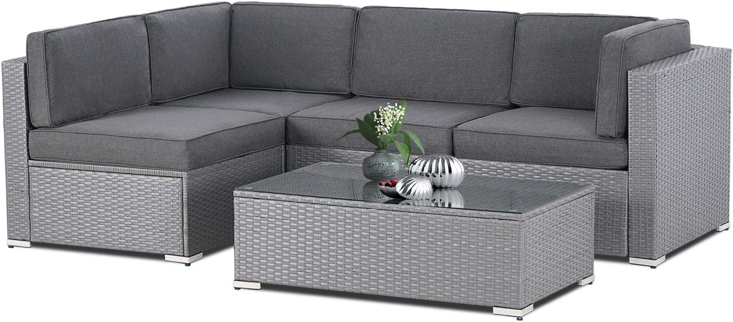 SUNCROWN Outdoor 5-Piece Patio Furniture Sets,All-Weather Black Rattan Wicker Sectional Sofa with YYK Zipper and Tempered Glass Table,Washable Cushions((Dark Gray)