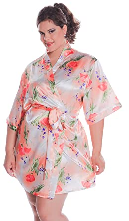 0d1b38c88bb Women s Print Super Plus Size (4x-6x) Short Kimono Robe  3076xx (XX ...