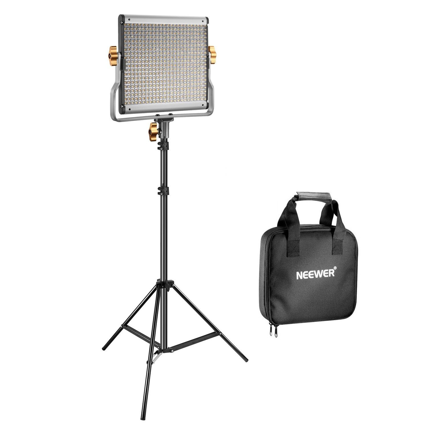 Neewer 480 LED Video Light and Stand Lighting Kit - Dimmable Bi-Color LED Panel with U Bracket (3200-5600K, CRI 96+) and 75-Inch Light Stand for Photo Studio Portrait, YouTube Video Photography by Neewer (Image #1)
