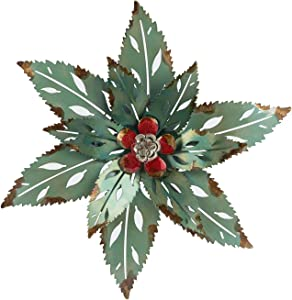 Metal Flower Wall Art Decor, Decorative Wall Art, Wall Plaque, Wall Sculptures, Multiple Layer Green Leaf Red Flower Metal Wall Art Decor, Wall Art Hanging for Indoor Outdoor Patio Porch Home Decor