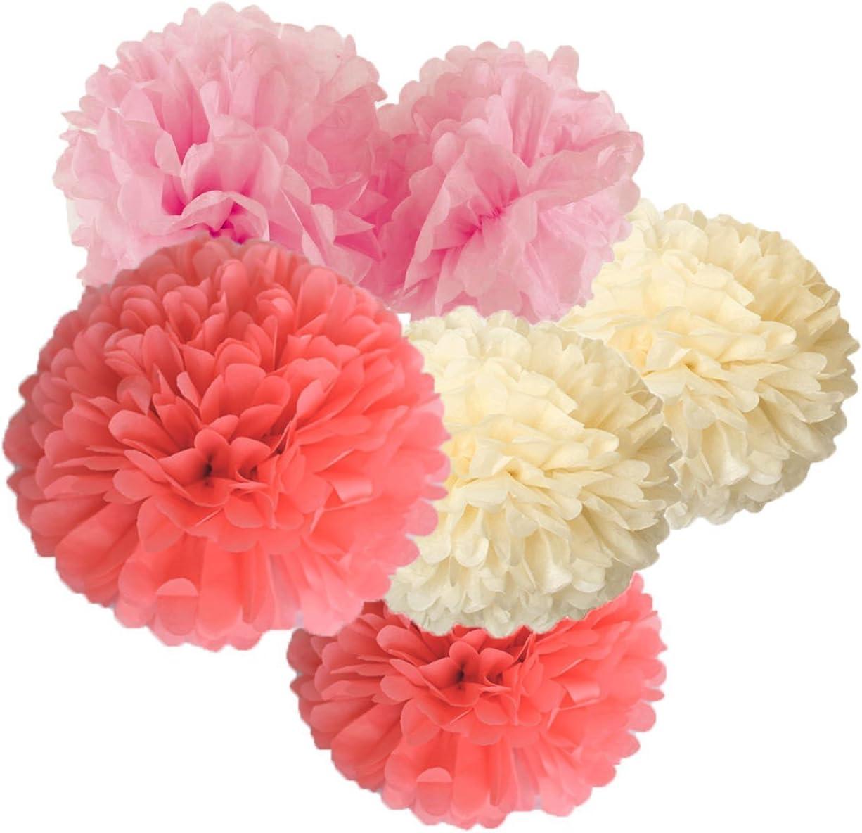 "HappyField 12PCS 10/"" 12/"" Baby Pink Blue White Tissue Paper Pom Poms Flower Gender Reveal Party Supplies Gender Reveal Party Decorations Boy or Girl Baby Shower Decorations Pink and Blue Decorations"