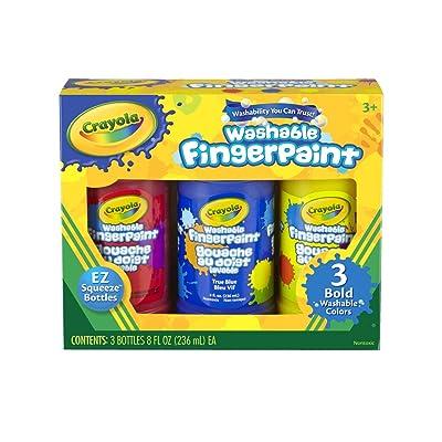 Crayola Washable Bold Fingerpaint Set, Bottle, Primary, Set of 3: Toys & Games