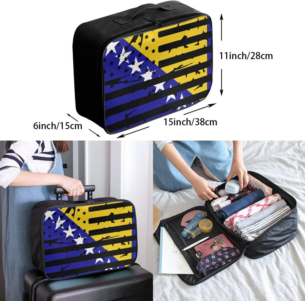 Bosnian American Flag Overnight Carry On Luggage Waterproof Fashion Travel Bag Lightweight Suitcases