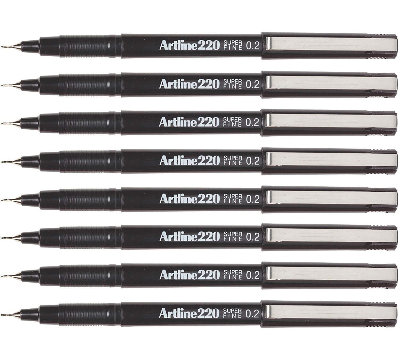 Artline Fineliner sketch artist pens, extra fine point 0.2mm - 8 Count (Black, Extra Fine 0.2mm) by artline