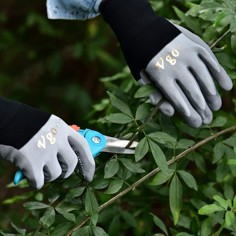 Talla 8//M, 3Colores, NT2159 Vgo 10Pares Guantes de Trabajo y Jardiner/ía con Recubrimiento de Nitrilo Microespuma