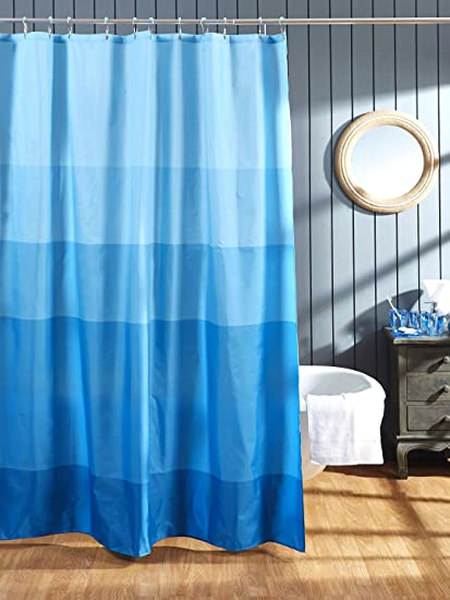 Obsessions Polyester Vivid Hema Textile Shower Curtain (Blue,180 X 200 cm)