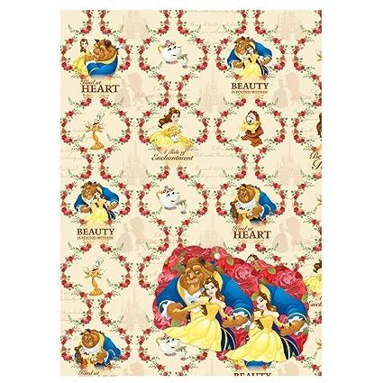 Papel de regalo de Disney La Bella y la Bestia (2 hojas, 2 etiquetas ...