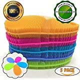 FTeam Silicone Sponge Dish Scrubber Brush for Kitchen, Antibacterial Multifunctional Non Stick Cleaning Sponge, Pot Dish Cup Bowl Cleaner Brush, Fruit and Vegetable Cleaner, Mix Colors (Pack of 5)