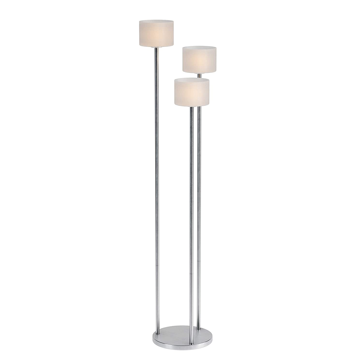 Kenroy Home 21377BS Matrielle 3-Light Torchiere Floor Lamp 72 Inch Height Brushed Steel Finish