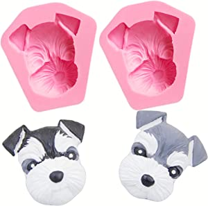 HengKe 2 Pcs Cute Lovely Animal Dog Silicone Mold for DIY Desserts Candy, Chocolate, Jelly,Gum Paste Cupcake ,Cake Topper Decoration,Fondant Mold Soap Handmade Ice Cream